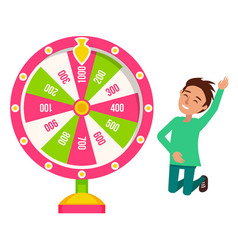 Fortune wheel game and boy winner risk and luck vector