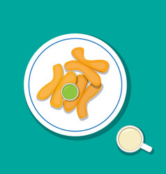 Fried bread stick with pandan custard and soymilk vector