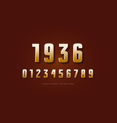 golden colored sans serif numerals vector image