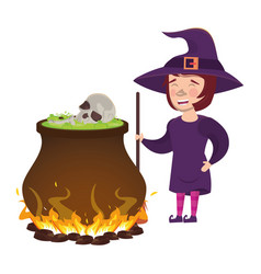Halloween witch cauldron with skull head and witch vector