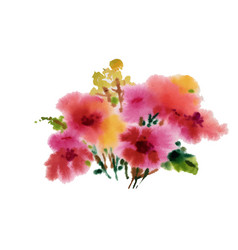 hand drawn pink flowers isolated on white vector image