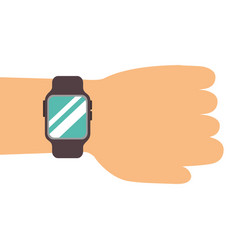 hand with smartwatch technology online vector image