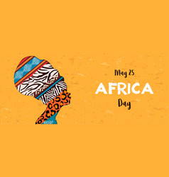 Happy africa day banner animal print woman vector
