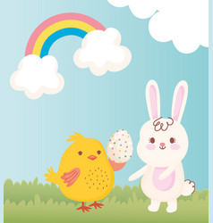 happy easter chicken with egg and rabbit grass vector image