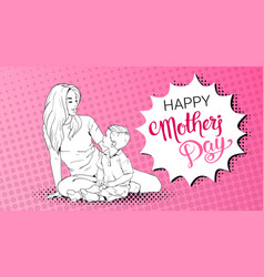 Happy mother day greeting card sketched mom vector