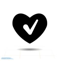 heart black icon love symbol check mark in vector image