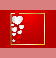 heart shape and golden frame with copy space on vector image
