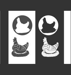 hen chicken vintage logo retro print poster vector image