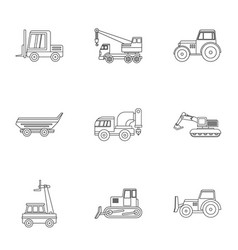 Industrial heavy vehicle icon set outline style vector