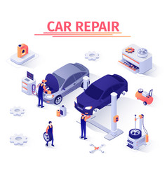Isometric banner with car repair process in garage vector