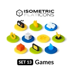 Isometric flat icons set 13 vector image