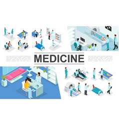 isometric medicine elements collection vector image