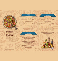 Italian pizza restaurant menu template with vector