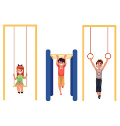 Kids at playground hanging on monkey bars vector