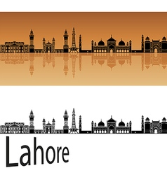 Lahore skyline in orange vector image