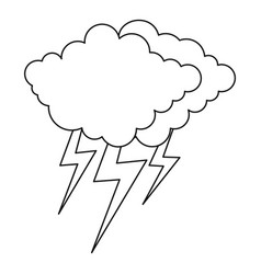 lightning icon outline style vector image