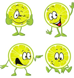 lime cartoon with hands isolated on white vector image
