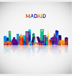madrid skyline silhouette in colorful geometric vector image