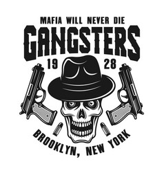 Mafia emblem with gangster skull in hat on white vector