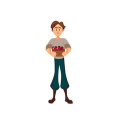 male farmer standing with basket of cherry vector image
