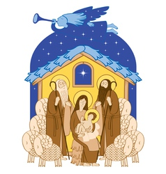 Mary and Jesus vector image