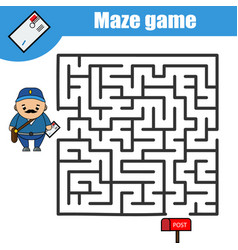 maze game postman and post box kids activity vector image