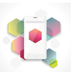 mobile cell phone on colorful vibrant geometry vector image