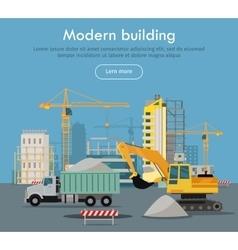 Modern Building Flat Design Web Banner vector image