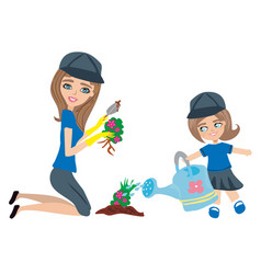 Mom and daughter plant flowers in the garden vector
