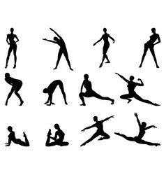 moving female silhouettes vector image