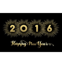 New Year 2016 gold banner firework greeting card vector image
