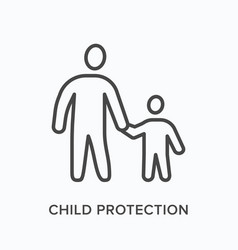 parent with child flat line icon outline vector image