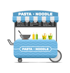 Pasta and noodle street food cart colorful vector