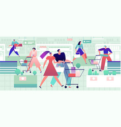 people in grocery store men and women with vector image