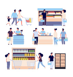 people in grocery store persons buying food in vector image