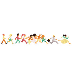 People of different age and gender running in flat vector