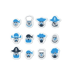 Pirate ship crew avatars set vector image