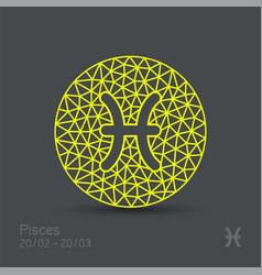 Pisces zodiac sign in circular frame vector