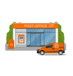 post office service with postman riding car for vector image