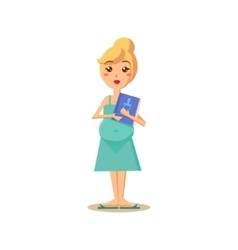 Pregnant Woman Holding a Book vector image