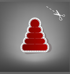 pyramid sign red icon with vector image