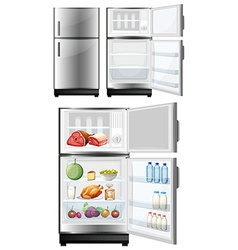 Refrigerator with food in the storage vector image