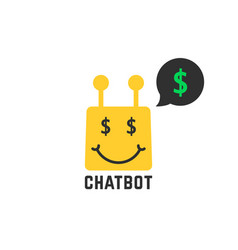 Rich yellow chatbot icon vector