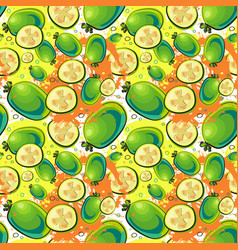 Seamless pattern guava fruits exotic ornament vector