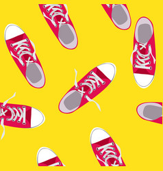 seamless pattern with shoes on color background vector image