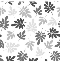 Seamless stylized grey leaves pattern vector