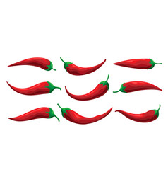 set cartoon chilly pepper on white background vector image