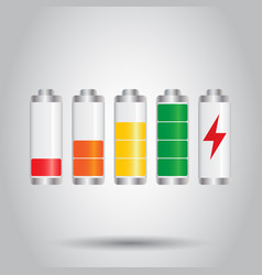set of battery charge level indicator on gray vector image