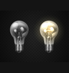 set off and on realistic lamp or 3d lightbulb vector image