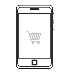 Smartphone with cart shopping device isolated icon vector
